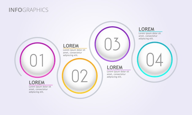 Vier schritte infografiken - kreis infografiken vetor