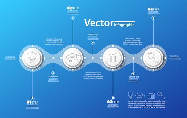 Vier schritte infografiken mit kreisen