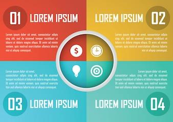 Vier Schritte kreisen infographics Designschablone ein