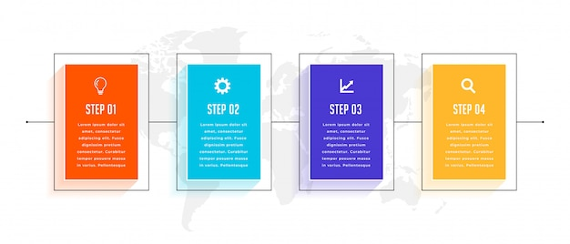 Vier schritte timeline business infografik template design