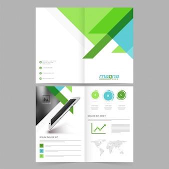 Vier seiten, zusammenfassung broschüre, vorlage design mit digitalen tablet und platz, um ihr bild hinzuzufügen.