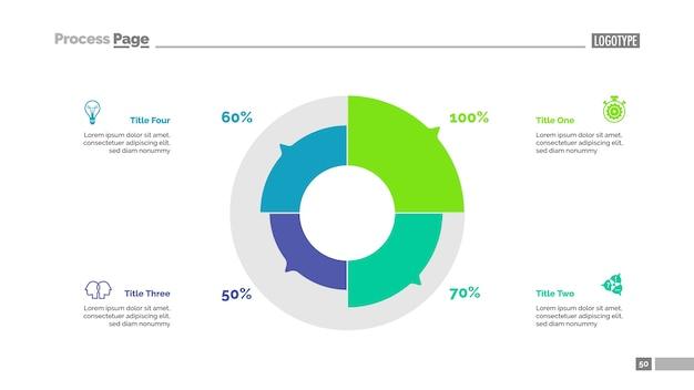 Vier sektoren kreisdiagramm slide template