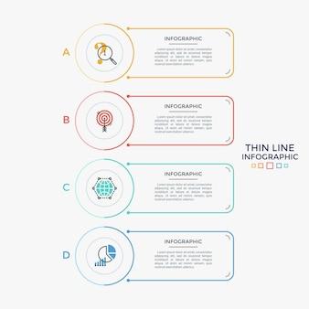 Vier separate rechteckige elemente mit linearen symbolen und platz für text, der in einer vertikalen reihe angeordnet ist. liste von 4 business-features zur auswahl. minimales infografik-design-layout. vektor-illustration.
