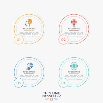 Vier separate runde elemente mit dünnen piktogrammen, zahlen und platz für text oder beschreibung im inneren. lineare infografik-design-vorlage. vektorillustration für website, webinterface oder menü.