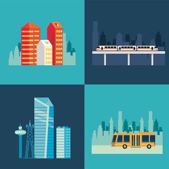 Vier smart city-szenen