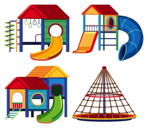 Vier spielhausdesigns mit rutsche und kletterstange