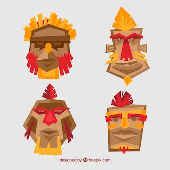 Vier stammesmasken