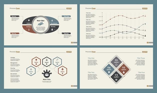 Vier statistiken slide templates set
