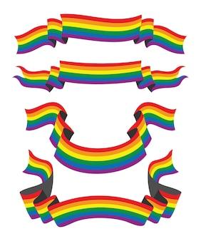 Vier stilbänder der regenbogenfahne für die lgbt-leute.