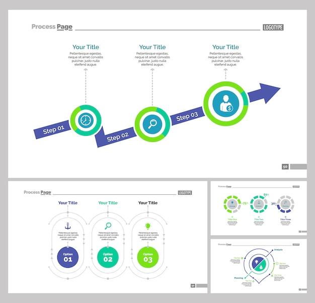 Vier strategie slide vorlagen set