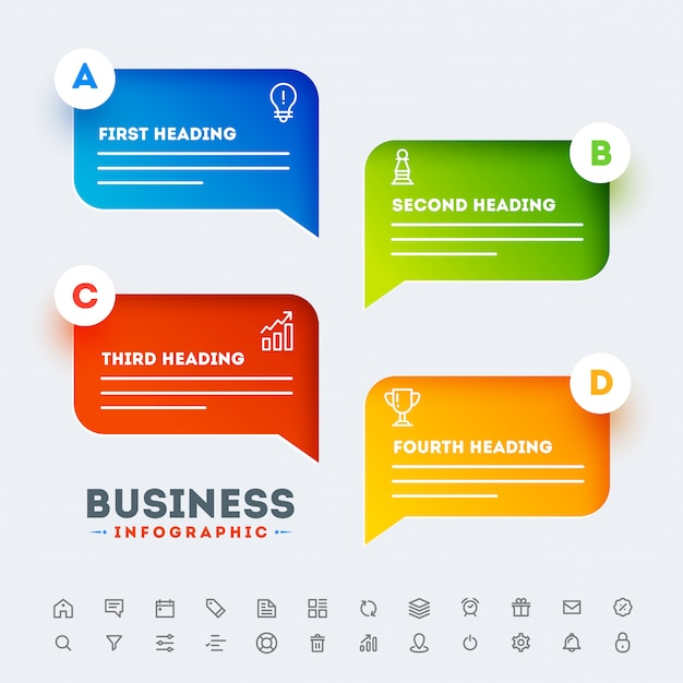 Vier-stufen-timeline business infographic template-design