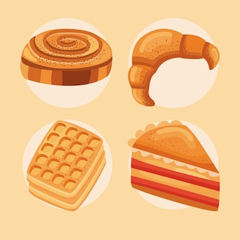 Vier süße gebäcksymbole