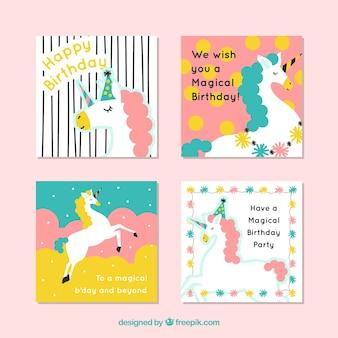 Vier süße geburtstagskarten mit einhörnern