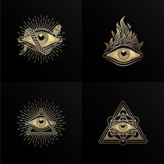 Vier symbole des auges mit gravur