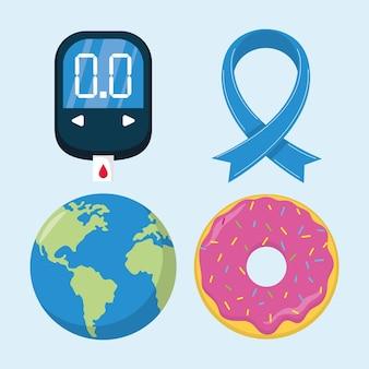 Vier symbole für den weltdiabetestag