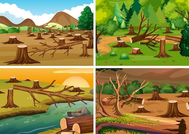 Vier szenen der entwaldung