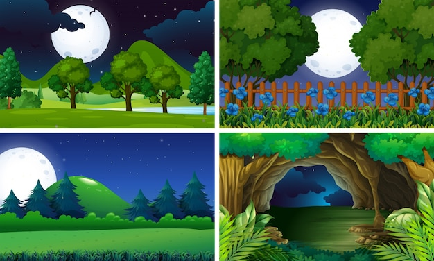 Vier szenen des parks in der nacht
