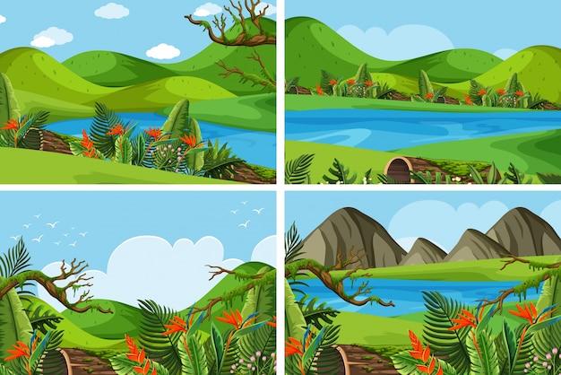 Vier szenen mit bergen und see