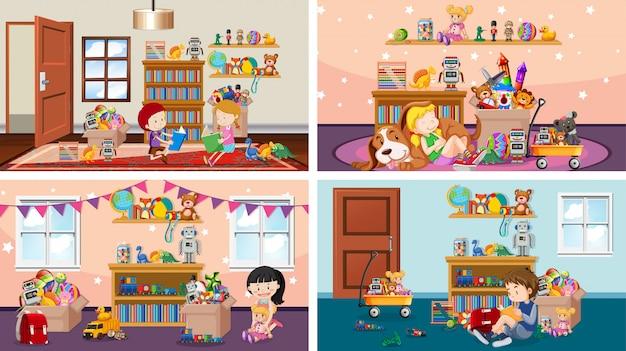 Vier szenen mit kindern, die in verschiedenen räumen spielen