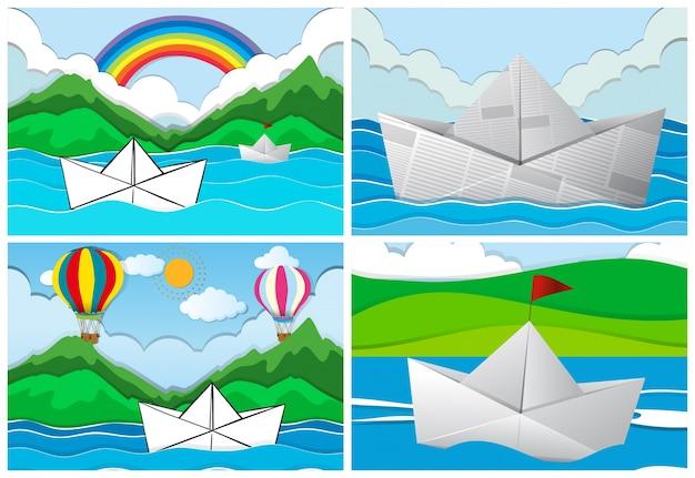 Vier szenen mit papierbooten auf see