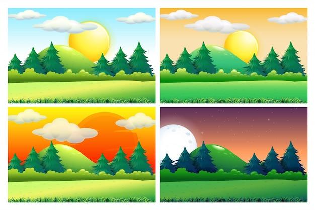 Vier szenen von grünen feldern zu verschiedenen tageszeiten