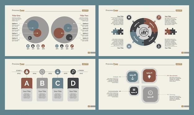 Vier teamwork charts slide vorlagen set