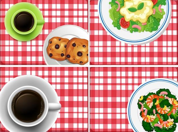 Vier tischansichten mit speisen und getränken