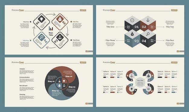 Vier trainingskarten slide templates set