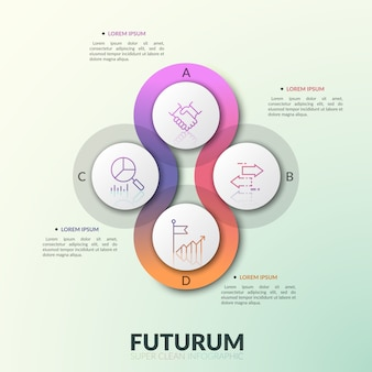 Vier überlappende durchscheinende runde elemente, die in der mitte mit buchstaben und piktogrammen mit dünnen linien angeordnet sind. moderne infografik designvorlage.