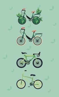 Vier umweltfreundliche set-fahrräder