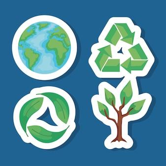 Vier umweltfreundliche symbole