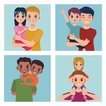 Vier väter und kinder