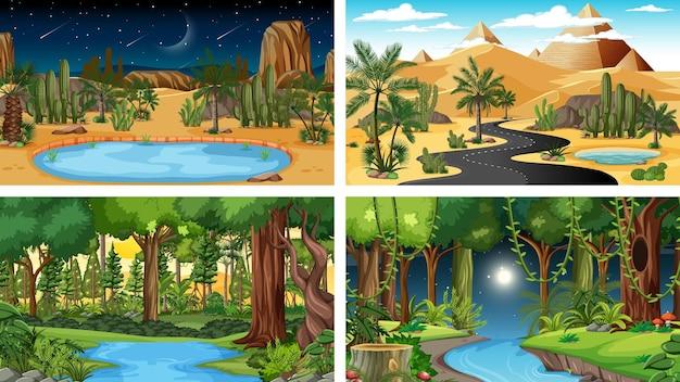 Vier verschiedene horizontale naturszenen