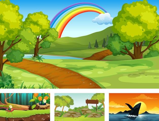 Vier verschiedene natur horizontale szene