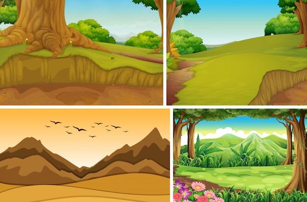 Vier verschiedene naturszenen des wald- und bergkarikaturstils