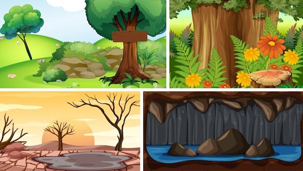 Vier verschiedene naturszenen des wald- und höhlenkarikaturstils