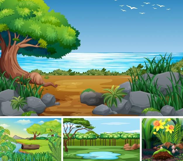 Vier verschiedene naturszenen des wald- und sumpfkarikaturstils