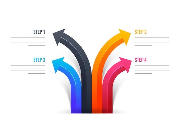 Vier verschiedene schritte des bunten pfeiles für schablone des geschäfts infographic