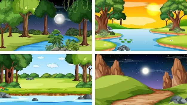 Vier verschiedene szene des naturparks und des waldes