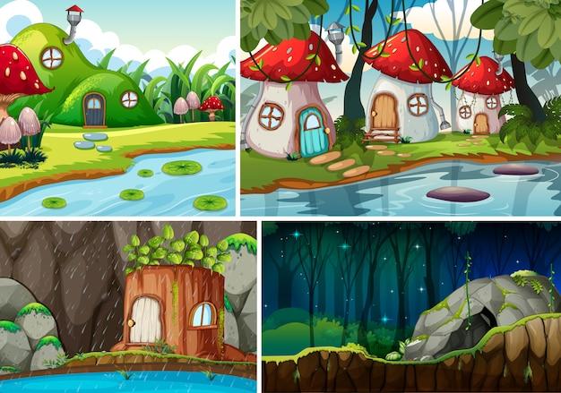 Vier verschiedene szenen der fantasiewelt mit fantasy house