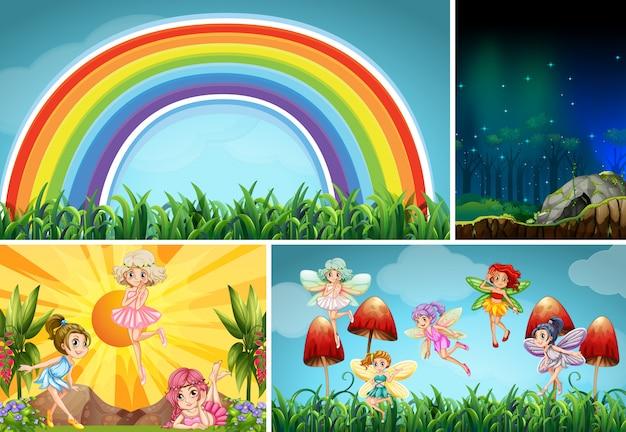 Vier verschiedene szenen der fantasy-welt mit fantasy-orten und fantasy-charakteren wie feen
