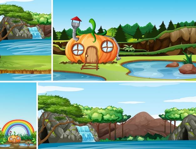 Vier verschiedene szenen der naturphantasiewelt mit kürbishaus in der märchen- und wasserfallnaturszene