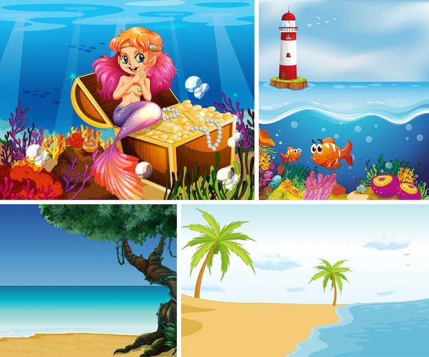 Vier verschiedene szenen des tropischen strandes und der meerjungfrau unter wasser mit dem meerestier-cartoon-stil