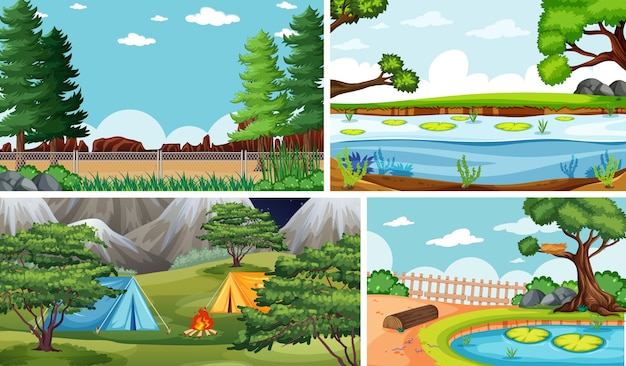 Vier verschiedene szenen im cartoon-stil der natur
