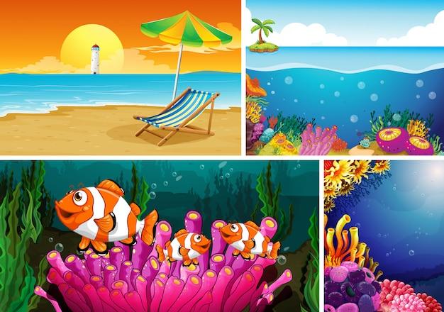 Vier verschiedene szenen von tropischem strand und unterwasser mit sea creater cartoon-stil