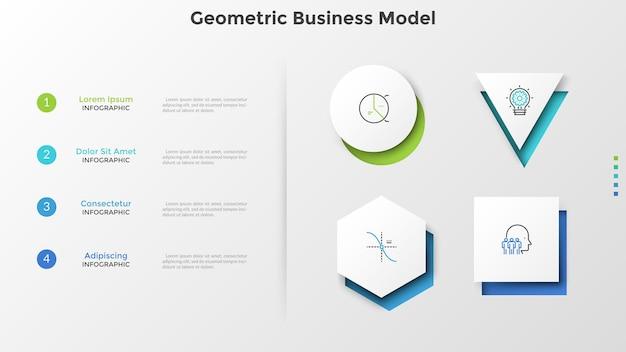 Vier verschiedene weiße papierelemente und liste mit beschreibung. geometrisches geschäftsmodell. moderne infografik-design-vorlage. vektorillustration für website-menü, geschäftspräsentation, bericht.