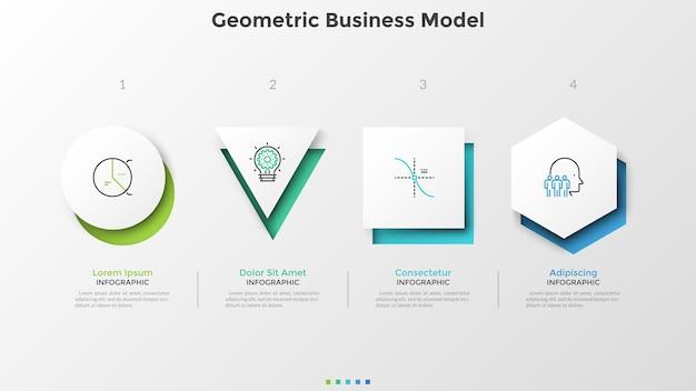 Vier verschiedene weiße papierformen. geometrisches geschäftsmodell. kreative infografik-design-vorlage. vektorillustration für vergleichsdiagramm, präsentation, broschüre, website-menüschnittstelle.