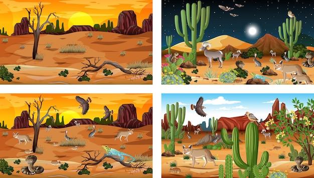 Vier verschiedene wüstenwaldlandschaftsszenen mit tieren und pflanzen