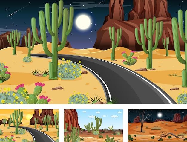 Vier verschiedene wüstenwaldlandschaftsszenen mit verschiedenen wüstenpflanzen