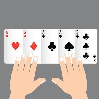 Vier von art poker gewinnen, spielkarte konzept